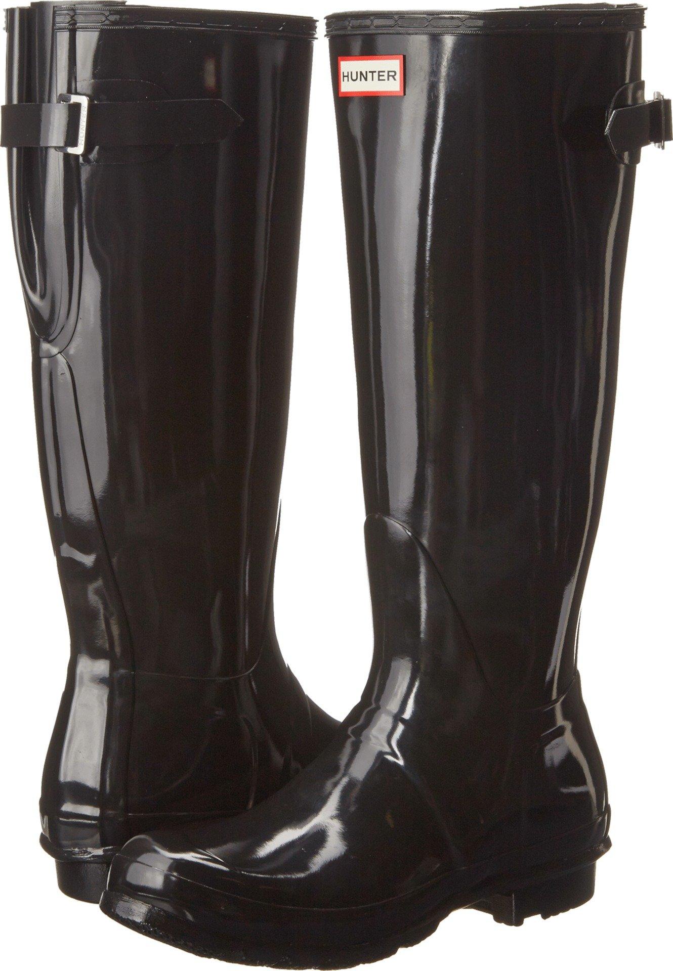 Hunter Womens Original Back Adjustable Gloss Black Rain Boot - 10