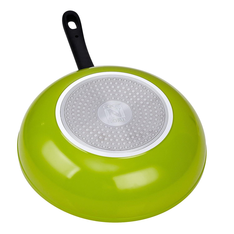 Cook N Home 12-Inch Nonstick Stir Fry Wok Pan, Green, 30cm