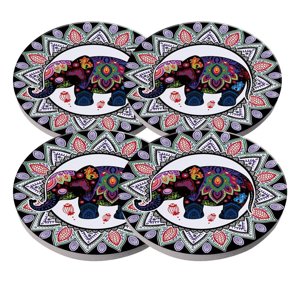 KristiPeterson カスタム ファッション パーソナライズ 精巧 セラミック コースター 4点セット クリスマスギフト 3.8x3.8x03 inch  Elephant-A B07KLRM434