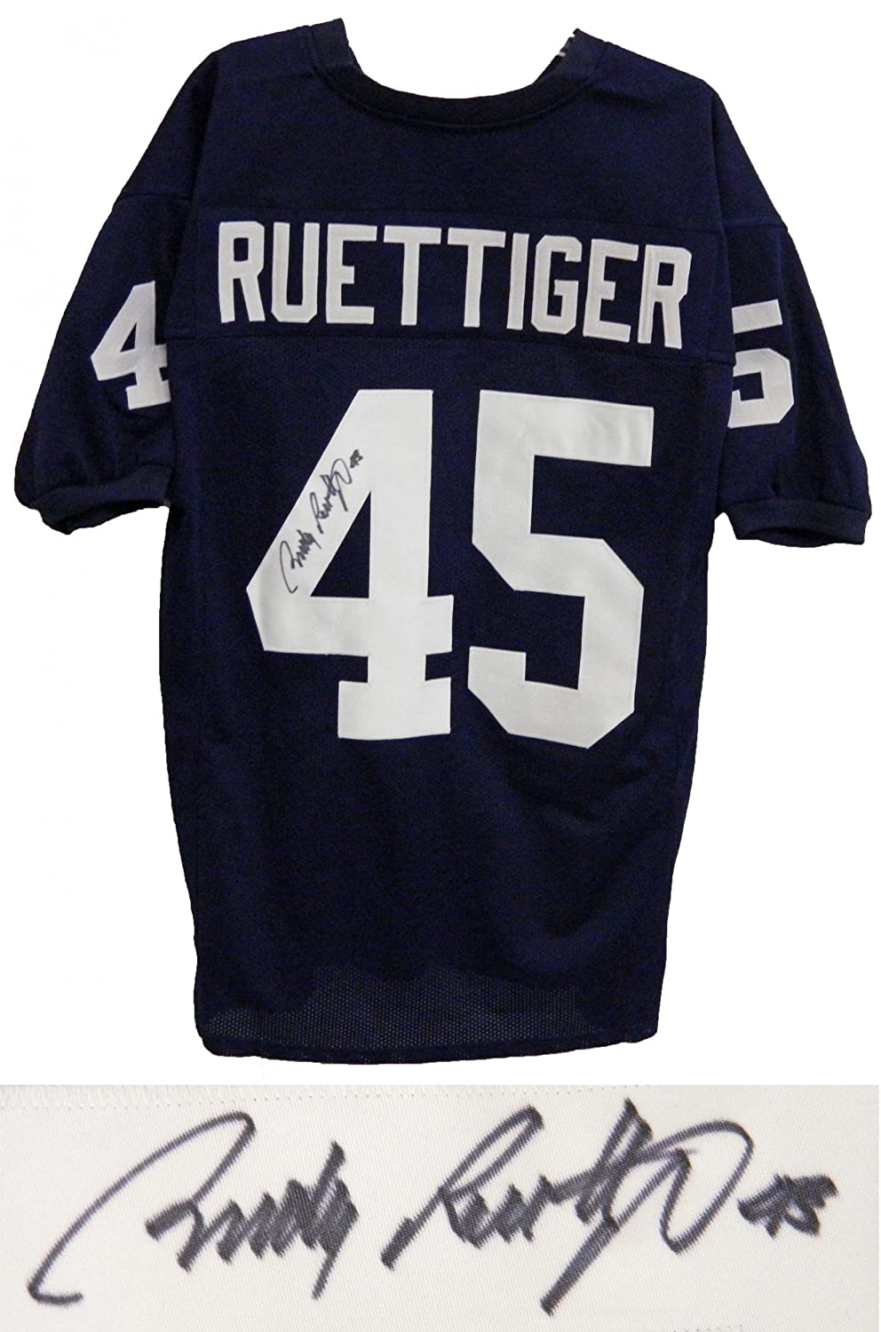 Signed Rudy Ruettiger Jersey - Navy Throwback Custom - Autographed College Jerseys Sports Memorabilia