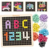 Coogam Wooden Mosaic Puzzle, 370PCS Shape Pattern Blocks with 8 Colors, Pixel Board Game STEM Montessori Toys Gift for…
