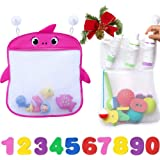 Bath Toy Organizer Set of 2 Holders+10 Foam Numbers+8 Suction&Sticker Hooks |Baby and Toddlers Bathtub Mesh Bag Premium Quali