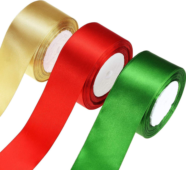 SATIN RIBBON roll craft xmas presents wedding party holiday gift wrap 25 YARDS