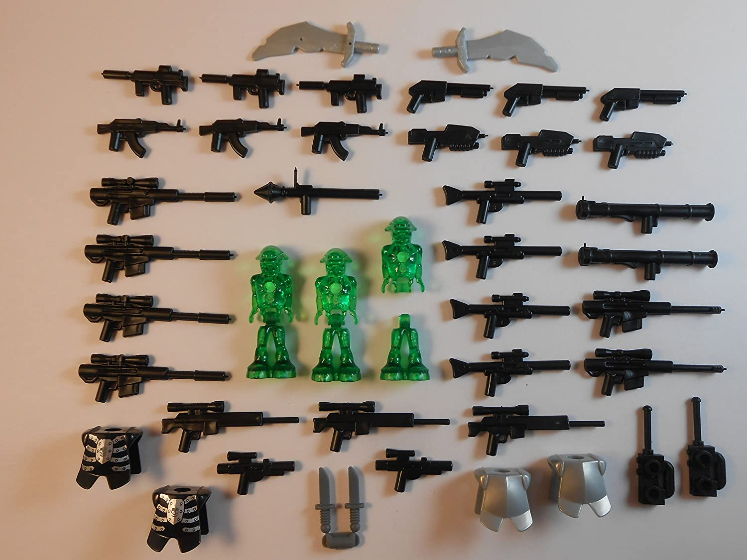42 Items. Guns and Lego Aliens. Accessories Armor Swords New!