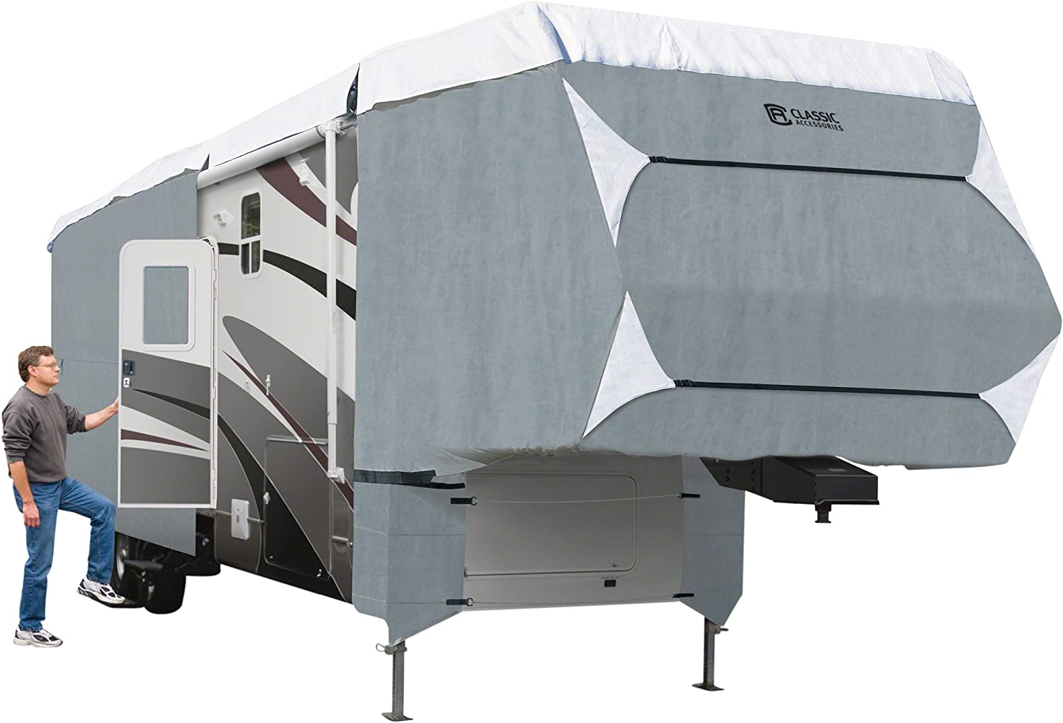 Classic Accessories 20-083-11113-101 OverDrive PolyPro 3 Deluxe Cover for 37' to 41' Extra Tall 5th Wheel Trailers,Grey