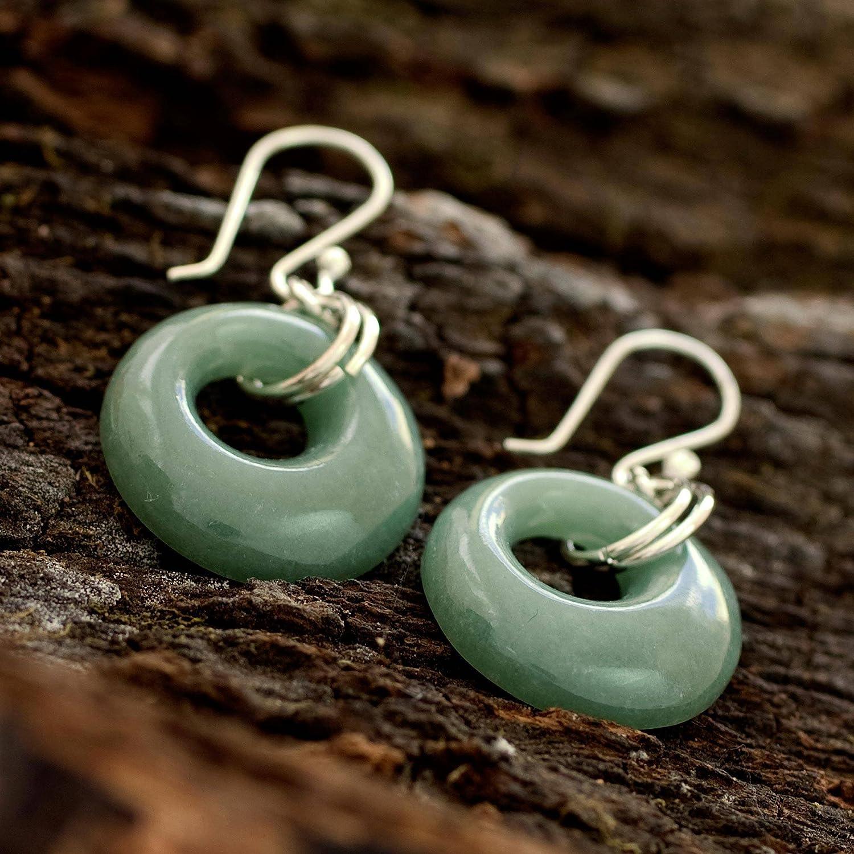NOVICA Jade Dangle Earrings with .925 Sterling Silver Hooks, Maya Memory