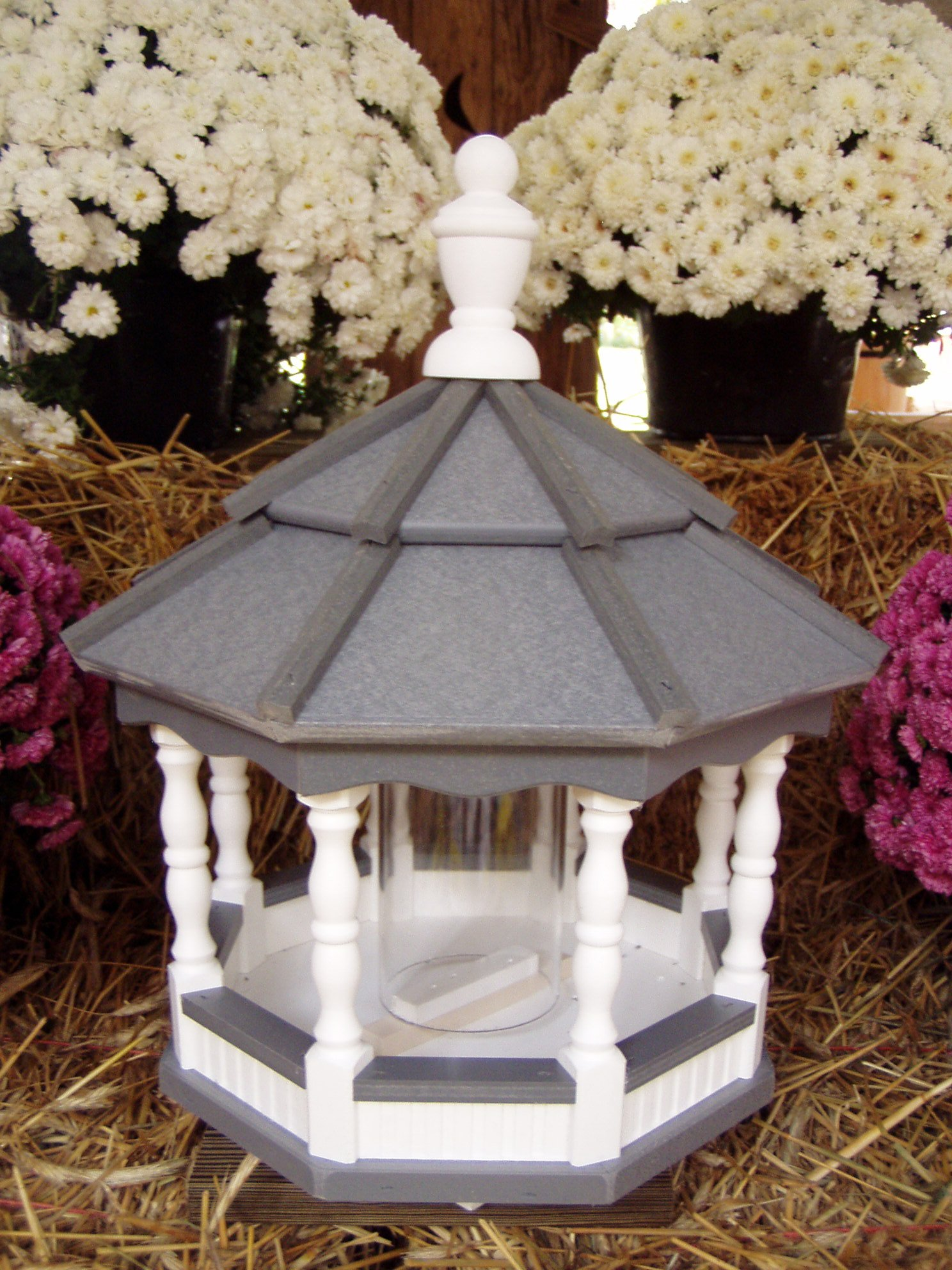 Vinyl Spindle Poly Bird Feeder Amish Gazebo Handcrafted Homemade White / Gray Medium by Amish Crafted