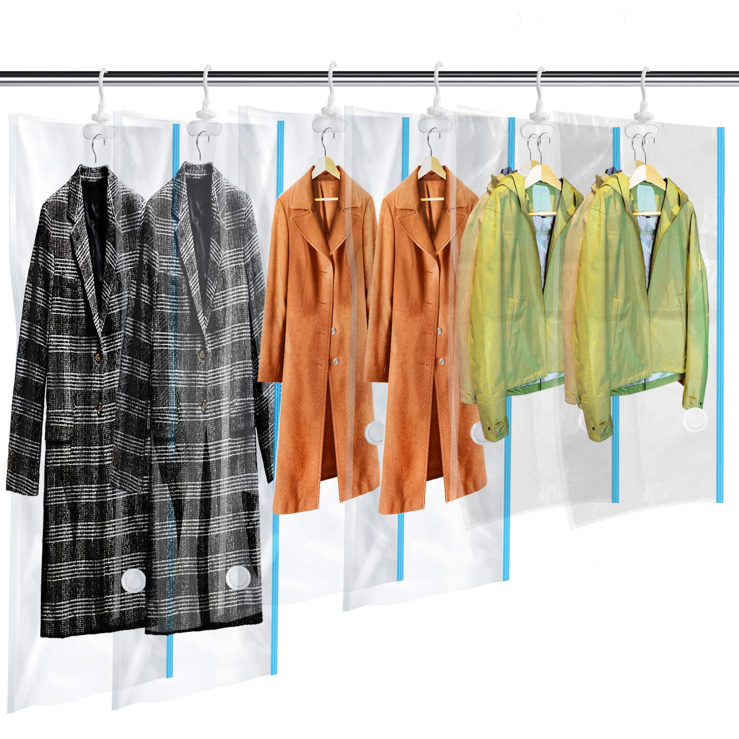 Hanging Vacuum Storage Bags 6 Pack (2Jumbo(57x27.6'') + 2Long + 2Short(41.3x27.6'')) Space Saver Bag Dress Cover with Hook for Coats, Jackets, Clothes & Closet Storage - Hand Pump Included by MRS BAG