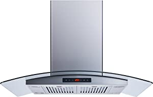 Winflo 36 In. 520 CFM Convertible Stainless Steel Glass Island Range Hood with Stainless Steel Baffle Filters and Touch Sensor Control