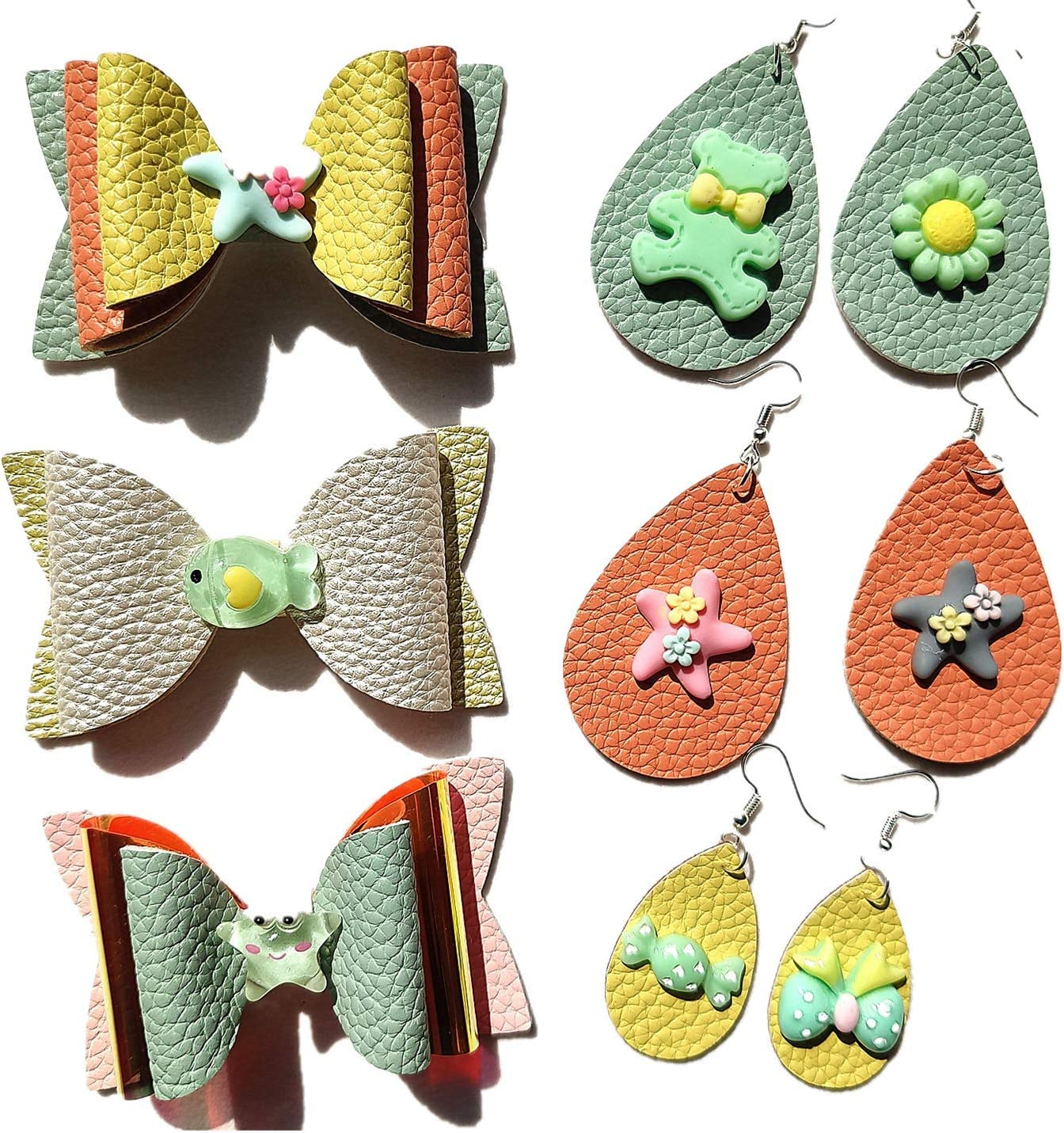 SHUANGART Reusable Bows Earrings Making Template 6.5  x 8.3  Cutting Stencil for DIY Cards Scrapbook Photo Album Bow Ties Random Colors Add 2 pcs A5 Size Faux Leather Sheets for Free