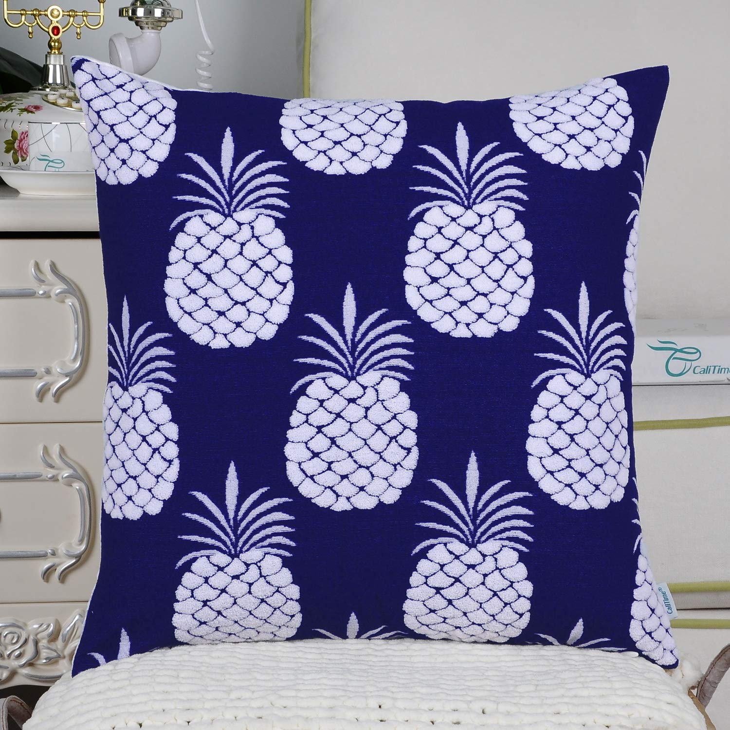 CaliTime Pack of 2 Supersoft Throw Pillow Covers Cases for Couch Sofa Bed Bedding Fluffy White Pineapple Fruit 18 X 18 Inches Wheat Qingdao PT Trading Co Ltd DSC0397A-Double