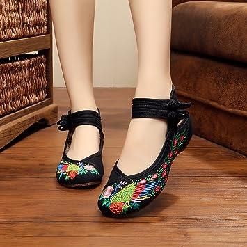 Y&M Gestickte Schuhe, Sehnensohle, ethnischer Stil, Femaleshoes, Mode, bequem, Tanzschuhe , red , 37