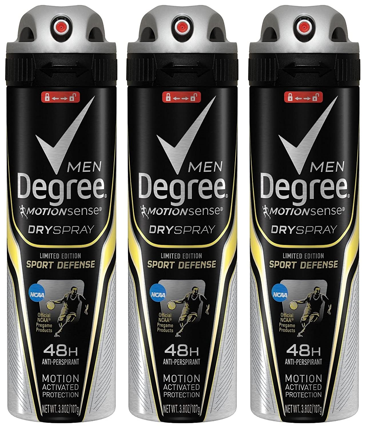 Degree Men Motion Sense Spray Antiperspirant, Sport Defense 3.8 oz (Pack of 3)