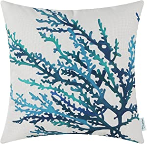 CaliTime Canvas Throw Pillow Cover Shell for Couch Sofa Home Decoration Aquarelle Painting Print 18 X 18 Inches Sea Coral Tree Blue Teal