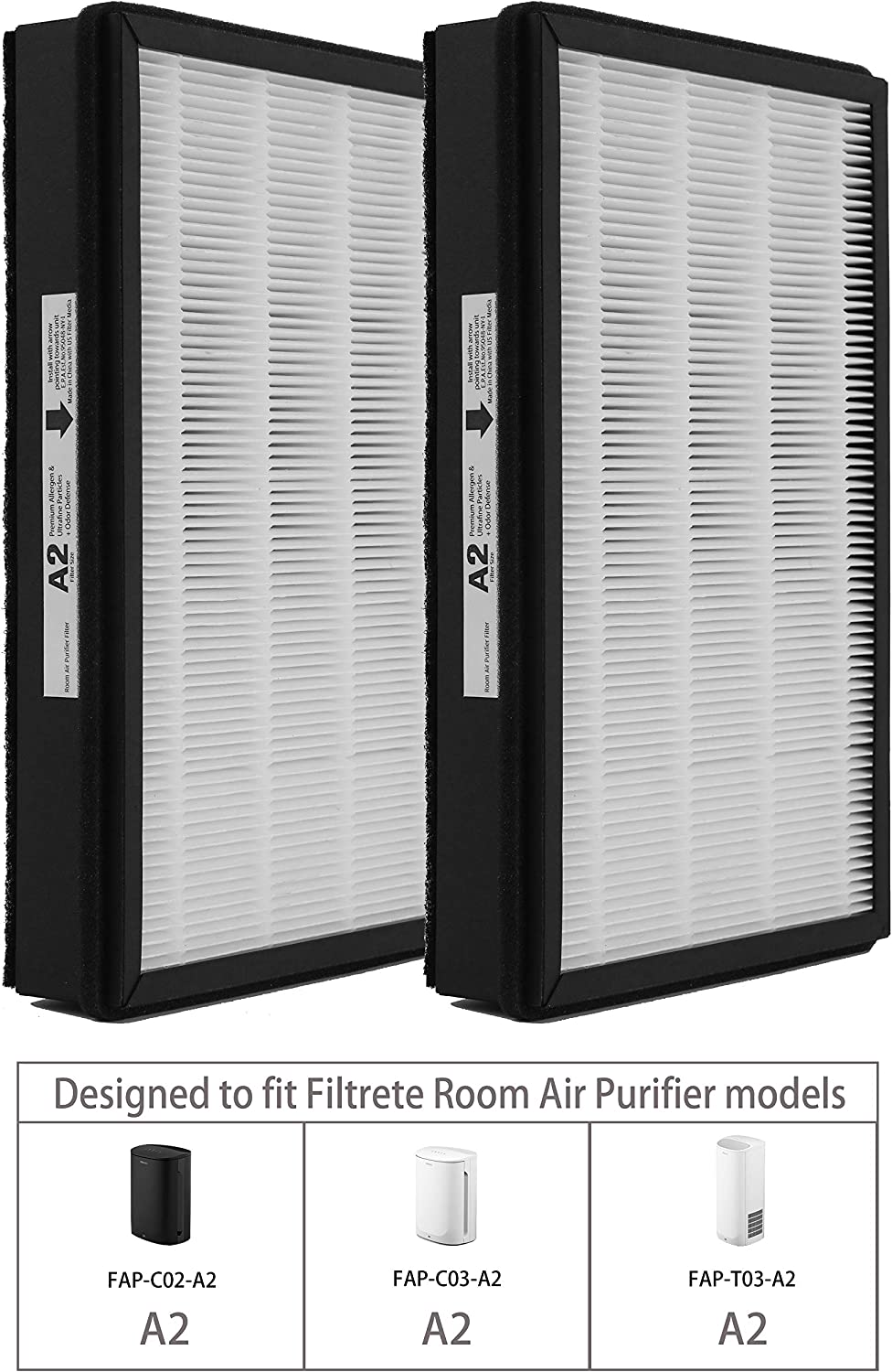 Replacement HEPA A2 Size Filter, Compatible with Filtrete Room Air Purifier Devices, 2 Pack