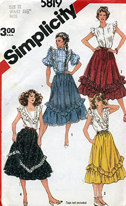 Amazon.com: Vintage 1982 Simplicity Western Dance Skirt Sewing ...