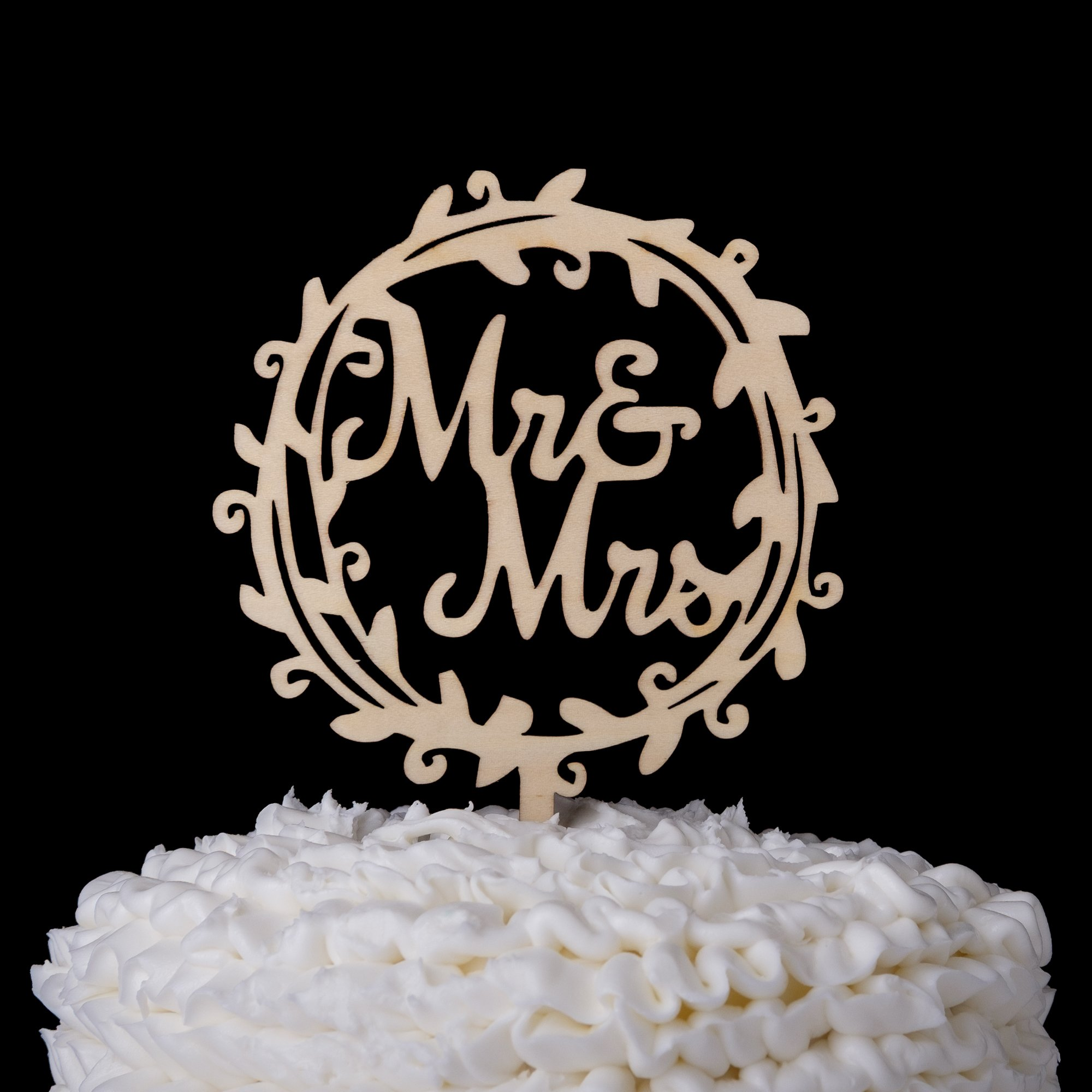 Ella Celebration Mr & Mrs Wooden Wedding Cake Topper Small 4.5 Inches Rustic Wood Floral Wreath Flowers, Olive Branch (Mr & Mrs Wreath) by Ella Celebration (Image #4)