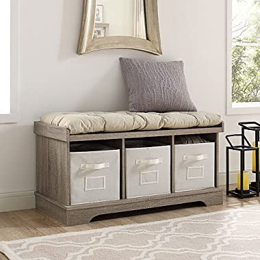 WE Furniture 42  Wood Storage Bench with Totes & Cushion, Driftwood