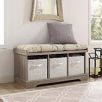 WE Furniture 42u0026quot; Wood Storage Bench With Totes U0026 Cushion, Driftwood