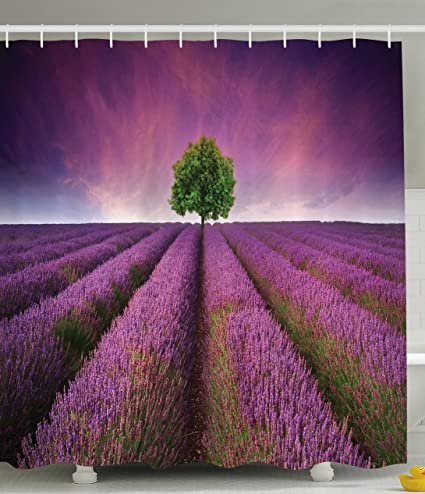 Ambesonne Purple Shower Curtain By Decorations Lavender Fields Panoramic Digital Print Tree Of Life Magical