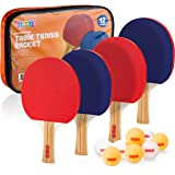 Play22 Ping Pong Paddle Set - 4 Table Tennis Paddles and 8 Ping Pong Balls and Portable Gift Case - Best Gift for Boys and Gi