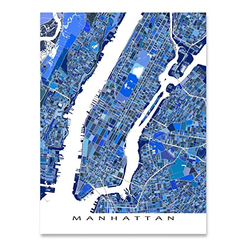 manhattan map print new york city artwork nyc street art poster