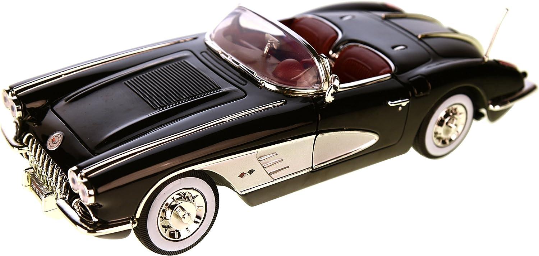 CHEVROLET CORVETTE Cabriolet 1958 Noir Voiture Miniature 1:18//Motormax