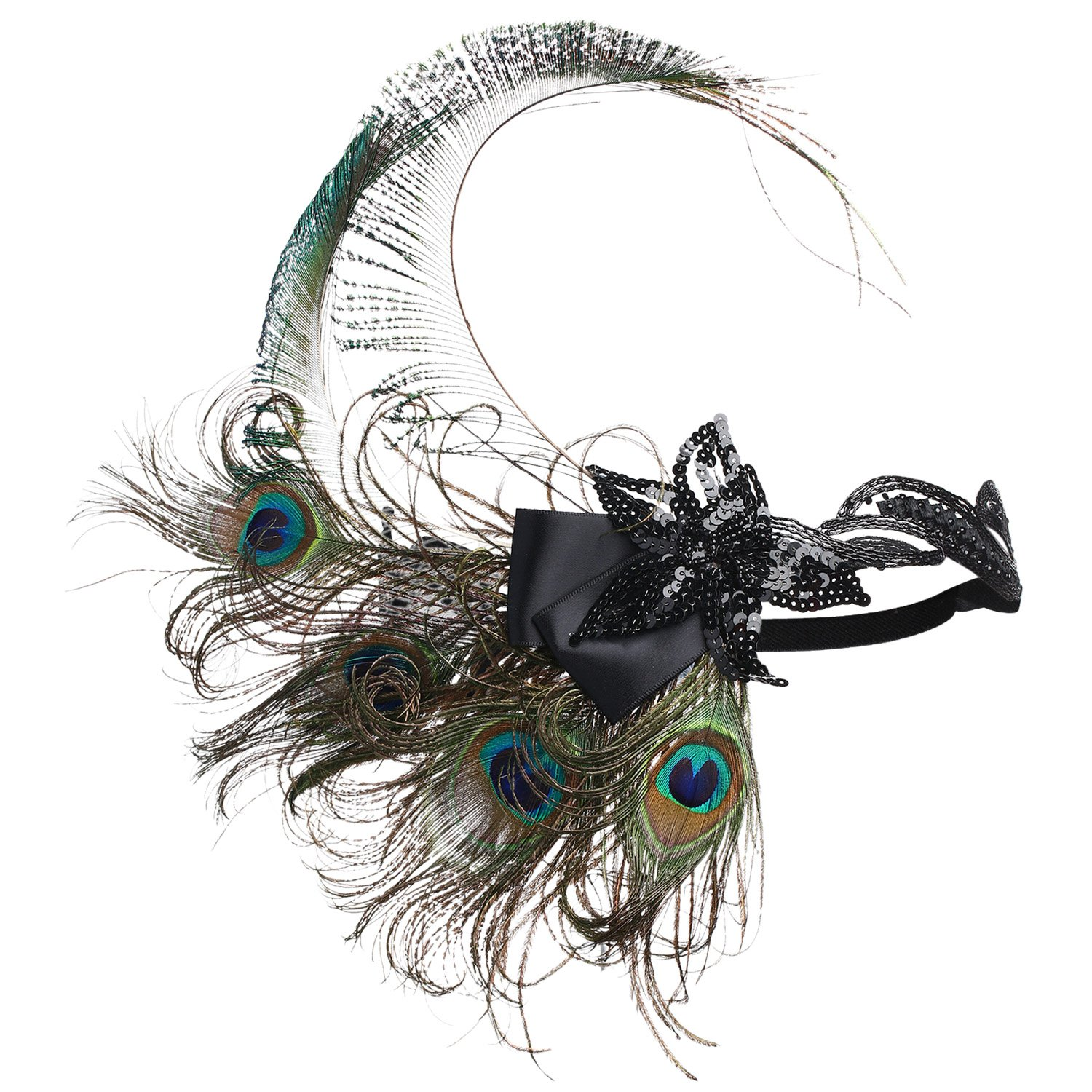 BABEYOND® Roaring 20's Sequined Showgirl Flapper Headband with peacock Feather Plume (style-3)