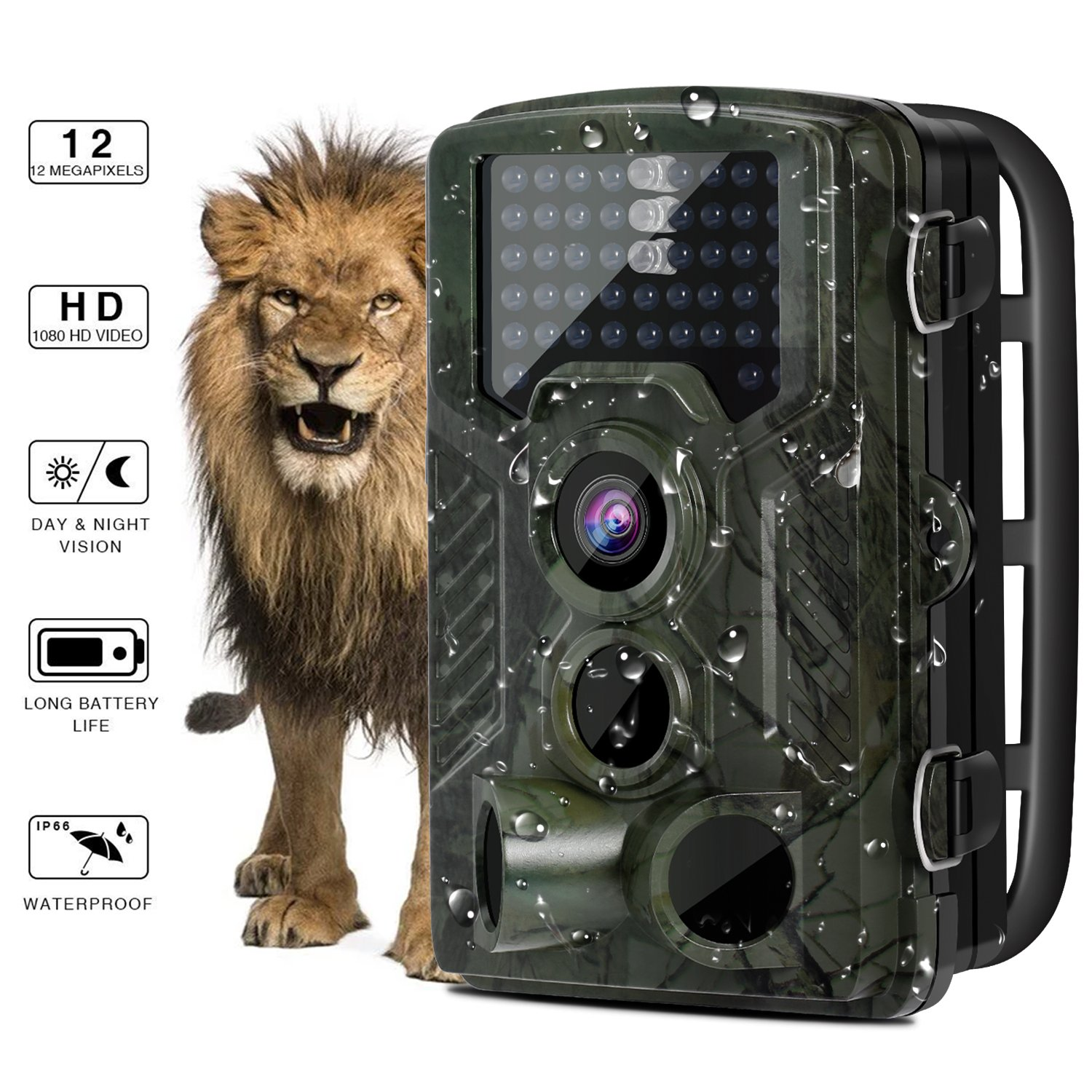 Wildlife Trail Camera - YKS Hunting Game Cam with Infrared Night Version, 2.4 inch LCD Screen, PIR Sensors, TF card up to 32GB, 46 infrared light,0.2 second trigger speed, IP56 Spray Water Protected design BEIYI HOME-CA