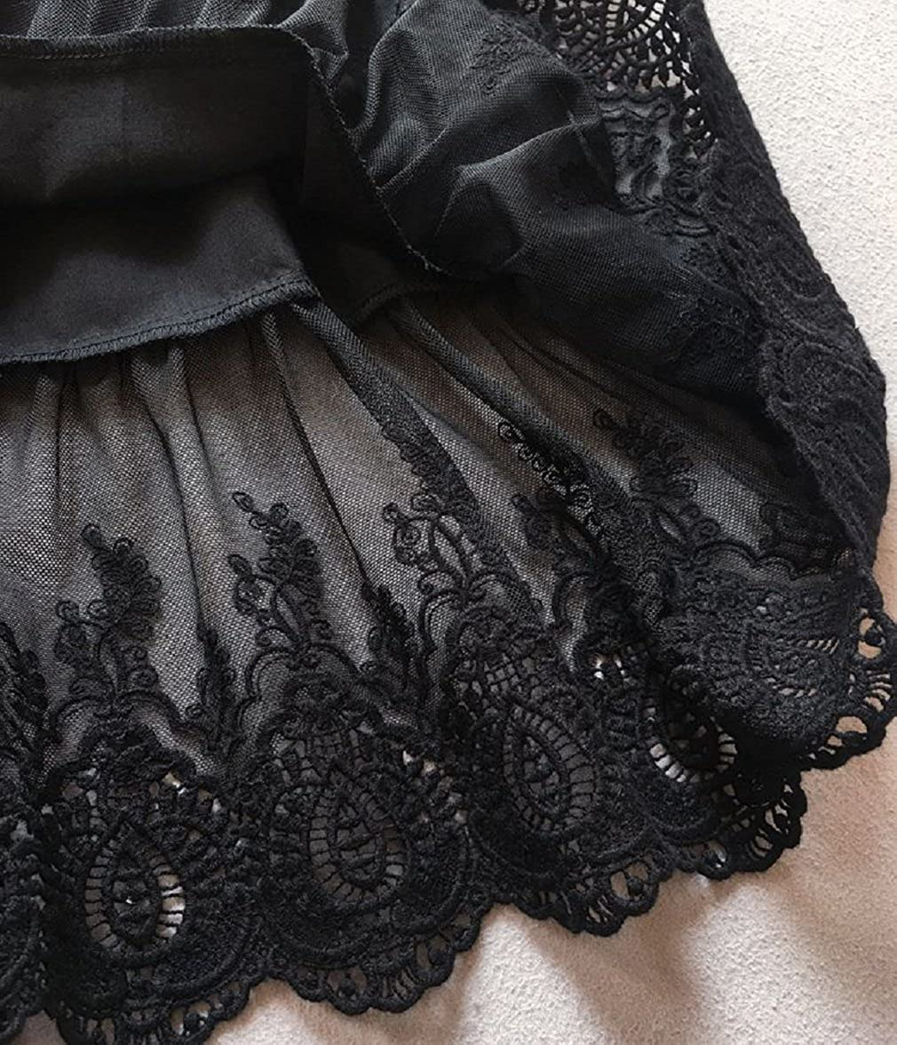 BEAUTELICATE Damen Unterrock 100/% Baumwolle Vintage Kurz Halbrock Mit Spitze Stickerei Knielang Dirndl Petticoat Schwarz 55CM Gr/ö/ße M