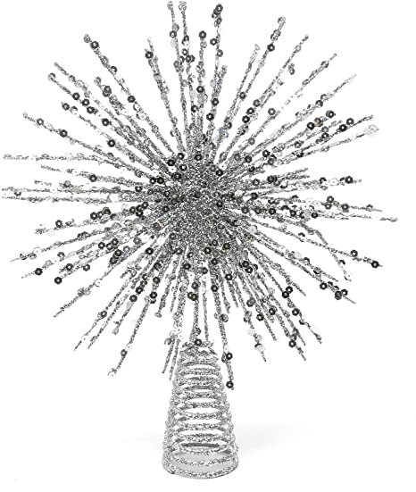Image Unavailable. Image not available for. Colour: Festive Glittered and  Sequinned Starburst Christmas Tree Topper ... - Festive Glittered And Sequinned Starburst Christmas Tree Topper 300