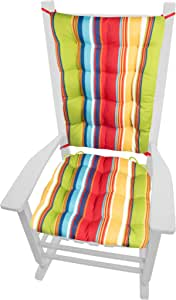 Amazon Com Westport Red Porch Rocker Cushions Extra Large Indoor Outdoor Fade Weatherproof Latex Foam Filled Rocking Chair Seat Cushion Backrest Pad Set Rainbow Cabana Stripe Xl Furniture Decor