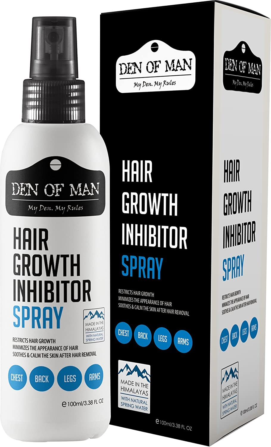 Den of Man™ 100% Natural Hair Growth Inhibitor Spray | For Use After Hair Removal From Body & Face | Permanently Minimizes Regrowth | Safe For Men & Women Harmony