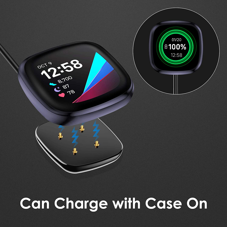 2PCS USB Remplacement c/âble de Charge Cable Compatible avec Fitbit Versa 3 Chargeur CAVN Chargeur Compatible avec Fitbit Versa 3//Sense Chargeur