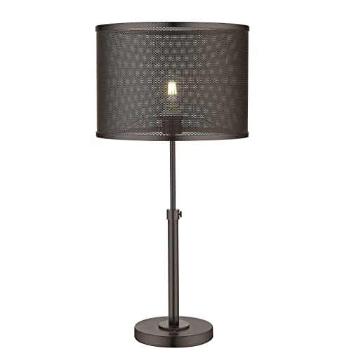 Modern Table Lamp, LMS Classical Industrial Bedside Lights Dark Bronze Finish Metal Mesh Shade for Living Room 14 Dia x 29 H