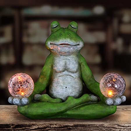 Frog Sculpture Lotus Position Meditation Zen Garden Statue Sculpture