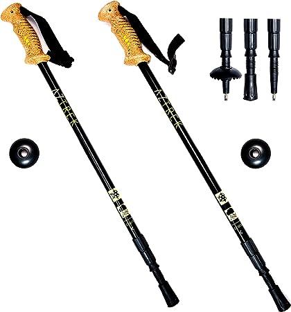 Aztrek Par de Bastones de Senderismo Trekking Esquí Ajustables - Aluminio Caminatas Nórdicas Excursionismo con Accesorios Puntas de Goma/Ligeras para ...