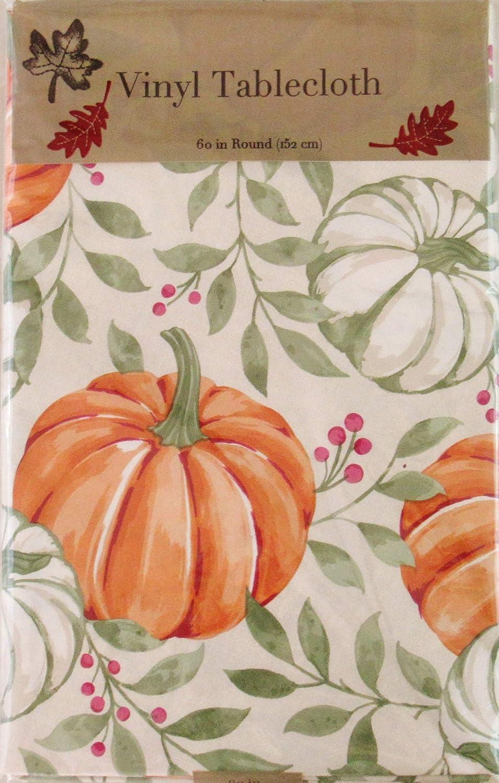 Mainstream International Autumn Harvest Orange and Blue Pumpkins with Vine Leaves Vinyl Flannel Back Tablecloth 52 x 90 Oblong