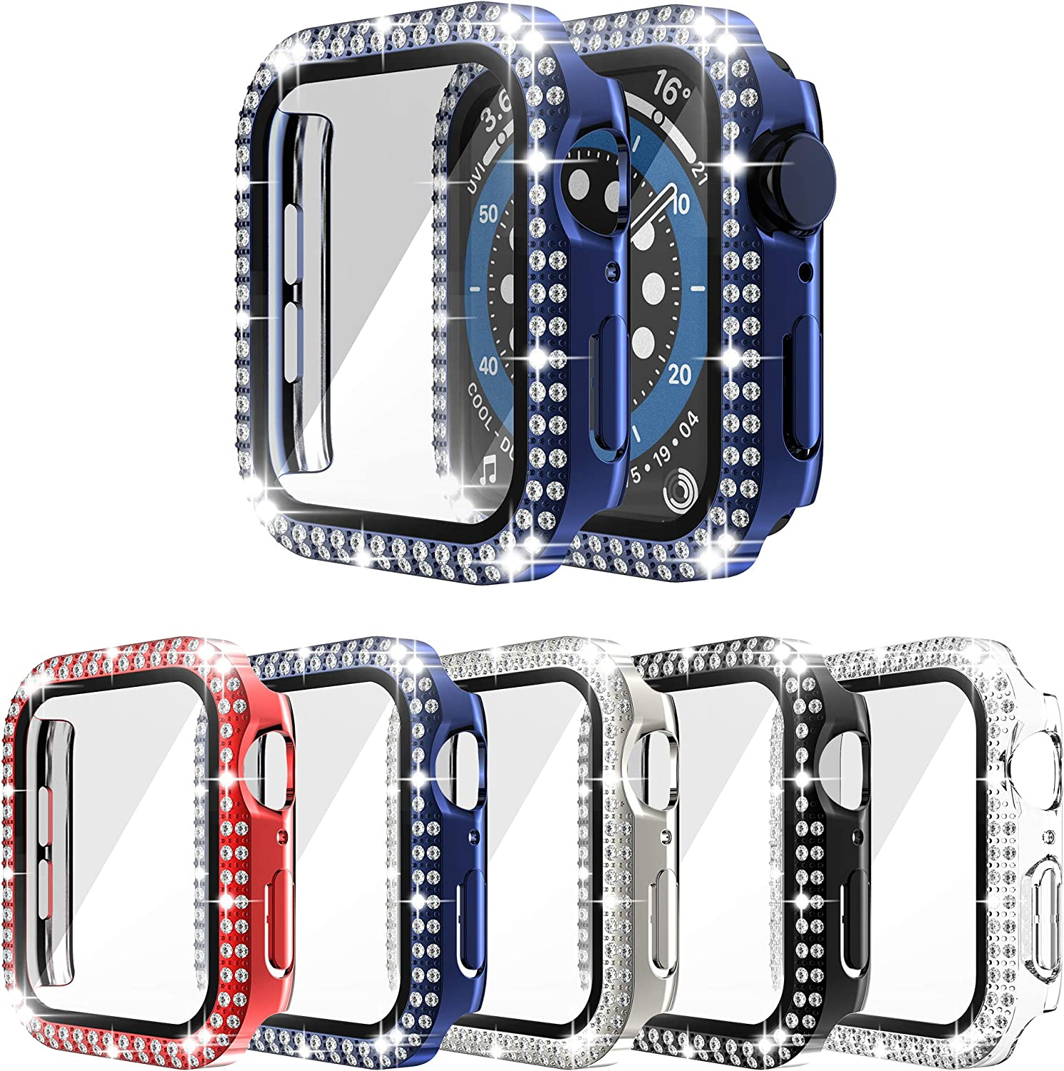 [5-Pack] RICHONE Bling Case Compatible with Apple Watch Series 3 2 1 42mm, Double Row Diamonds Cover with 3D Tempered Glass Screen Protector Bumper (Red+Navy Blue+Black+Silver+Clear, 42mm)