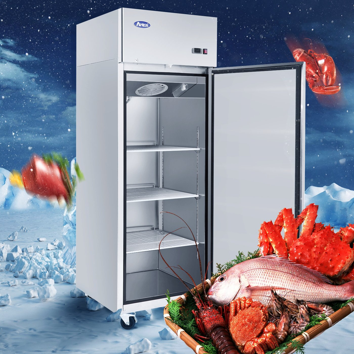 Amazon.com: Commercial Refrigerator,ATOSA MBF8004 Single 1-Door Top ...