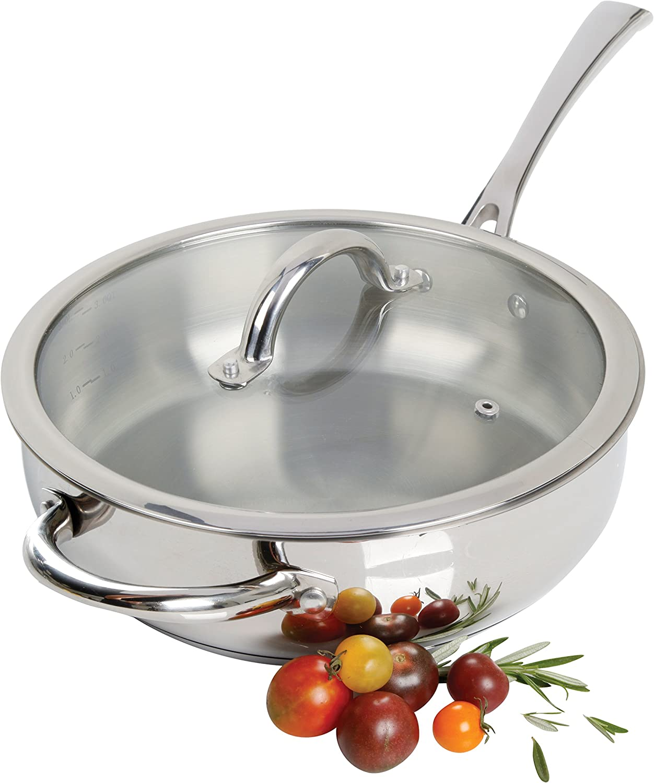 "Oster Derrick Stainless Steel Saute Pan, 10"", Saute Pan"