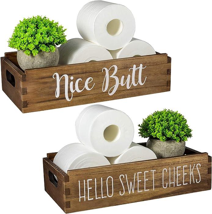 TJ.MOREE Nice Butt Bathroom Decor Box Home Decor Farmhouse Toilet Tray Powder Room Decor Rustic Home Decor Hello Sweet Cheeks Toilet Paper Baby Diaper Box