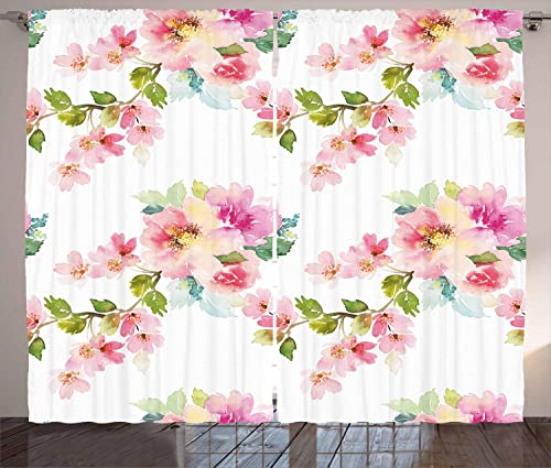 Ambesonne Floral Curtains, Watercolor Shabby Form Nature Petals in Soft Tones Picture, Living Room Bedroom Window Drapes 2 Panel Set, 108 X 96 , Pink Fern