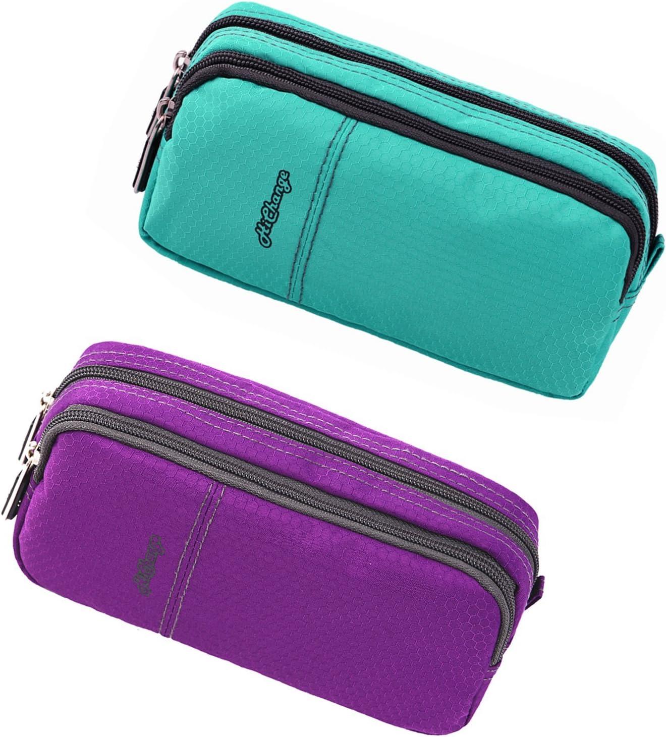 Pencil Case, Big Capacity Pen Case Desk Organizer with Zipper for School & Office Supplies (2Pack Green+Purple)