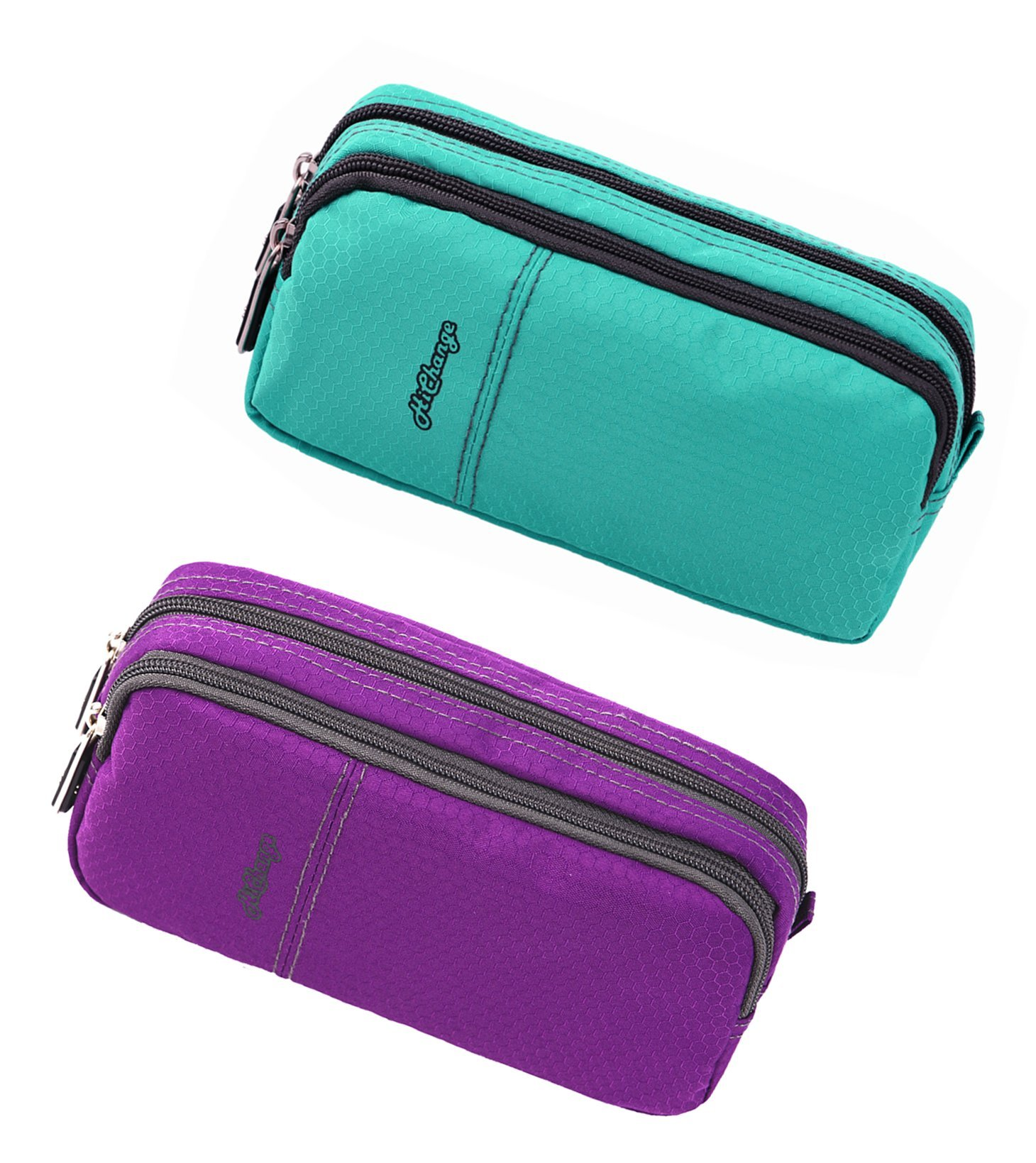 Pencil Case, Big Capacity Pen Case Desk Organizer with Zipper for School & Office Supplies (2Pack Green+Purple)