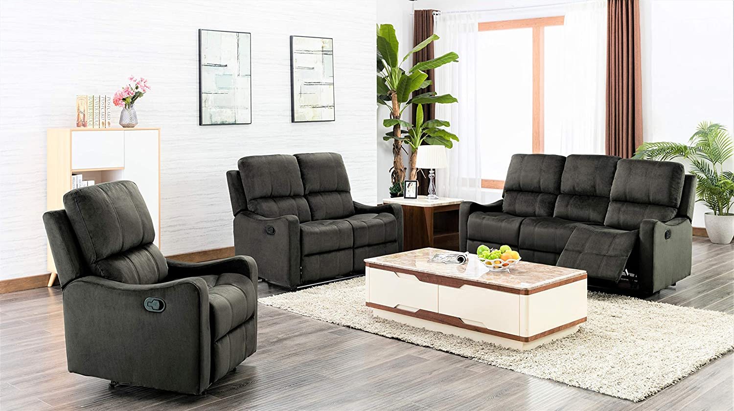 US Pride Furniture Sectional, Sofa and Chair, Green