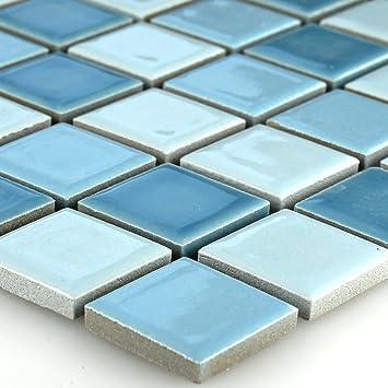 Keramik Mosaik Fliesen Blau Mix 25x25x5mm Amazonde Baumarkt