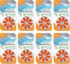 Powermax Size 13 Hearing Aid Batteries, Orange Tab, Made In the USA, 128 Count