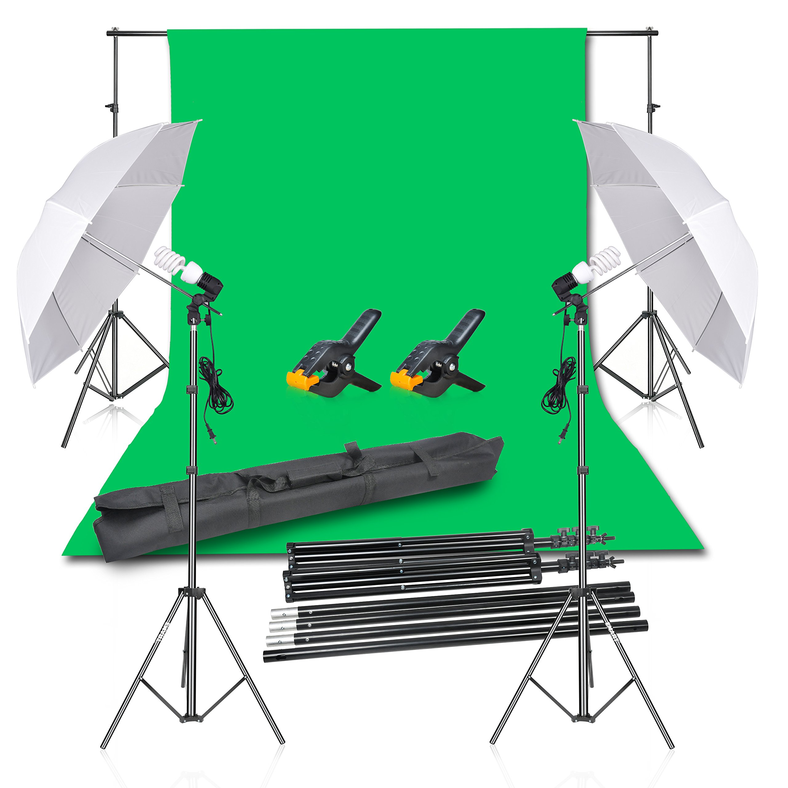 Emart Photography Backdrop Continuous Umbrella Studio Lighting Kit, Muslin Chromakey Green Screen and Background Stand Support System for Photo Video Shoot by EMART