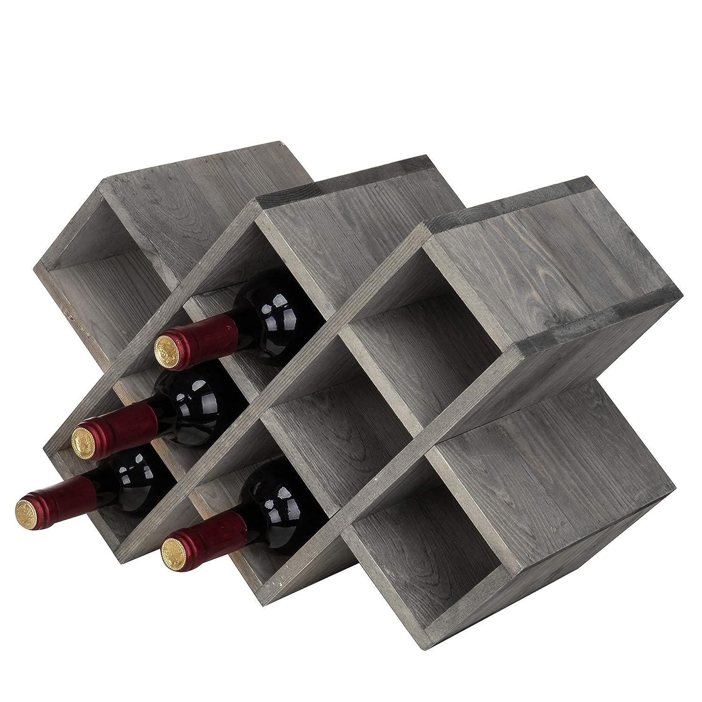 Amazoncom Mygift Vintage Gray Wood 8 Bottle Countertop Wine Rack